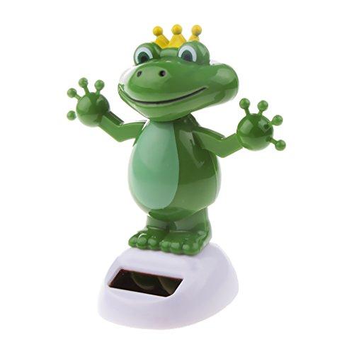 Baoblaze Plastik Frosch Tanzende Solarfigur Wackelfigur Schädel Figur Dekoration, grün