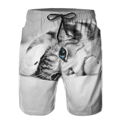 Summer Swim Trunks with Pocket, Water Repellent Sun Protection Cute Cat Spread Out On The Bed Beach Shorts, Best Hot Pants for Surfing Training Gym