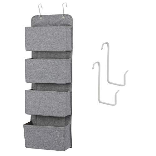 MaidMAX Hängeorganizer Starsglowing mit 4 Taschen, faltbares Hängeregal mit 2 Haken für Handtücher Windeln Spielzeug im Kinderzimmer Schrank, über Tür oder Wandmontage – Grau