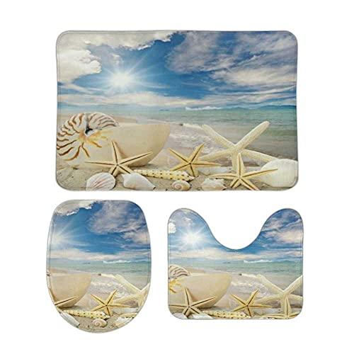 Starfish Sea Shells Beach Bathroom Rugs 3 Pieces Set Coral Fleece Bath Carpet Mat Contour Mat Toilet Lid Cover Soft Non Slip Absorbent Machine Washable for Tub Shower