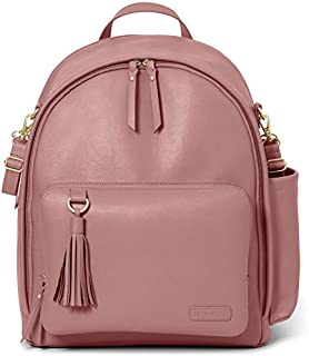 Skip Hop Diaper Bag Backpack, Greenwich Multi-Function Baby Travel Bag with Changing Pad and Stroller Straps, Vegan Leather, Dusty Rose with Gold Trim