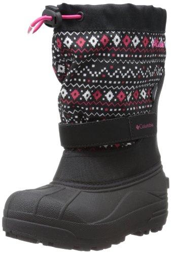 Hot Sale Columbia Powderbug Plus II Print Waterproof Winter Boot,Black/Bright Rose,5 M US Big Kid