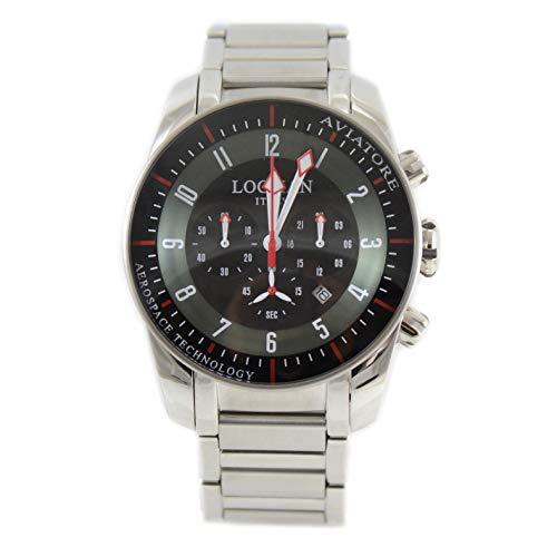 Locman - Reloj de hombre con cronógrafo de acero, colección Aviador
