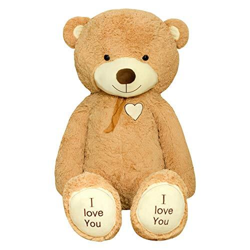 TEDBI Teddybär 160cm | Farbe Hellbraun | Groß Teddy Bear Plüschbär Stofftier Kuscheltier Plüschtier XXL Teddi Bär mit Stickerei I Love You Ich Liebe Dich