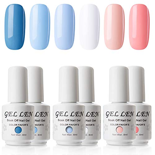 Gellen Gel Nail Polish Set - Blue Peach 6 Colors Series - Popular Spring Summer Nail Art Colors UV LED Soak Off Nail Gel Kit
