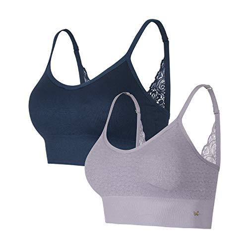 Jessica Simpson Women's Comfort Bra, Moonlit Ocean/Minimal Grey, Small