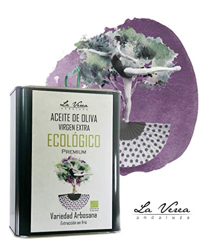 Aceite de oliva virgen extra ECOLÓGICO PREMIUM. Cosecha Temprana. Extracción en frío. Temp. 2020/21. Proviene de una sola finca, Monovarietal Arbosana. Lata de 2 Litros. Libre de Bisfenol A y BPA.