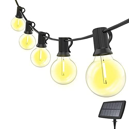 Cadena de luces solares para exteriores, G40, cadena de luces para exterior, 15 m, con 25 + 1 bombillas LED, impermeable, iluminación exterior/interior, decoración para jardín, boda, balcón, terraza