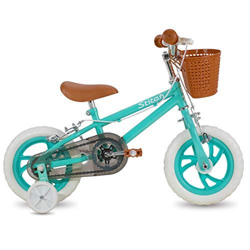 STITCH 12 inch Kids bike for girls&boys with Training Wheels & float tire & baskets, green