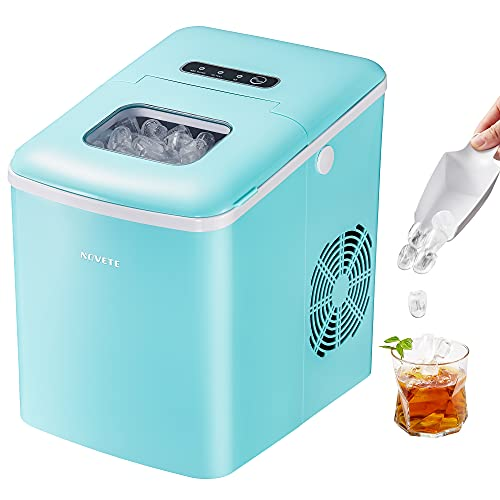 Ice Maker, NOVETE Portable Ice Maker Machine for Countertop, 9 Cubes Ready in 6 Minutes, 28.7 lbs Ice in 24 Hours Home Mini Ice Machine with Ice Scoop and Basket, for Parties Mixed Drinks