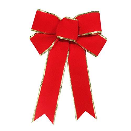 NUOBESTY 1 st rosett vacker jul röd 25 cm tyg dekor julgran dekoration band festtillbehör rosett
