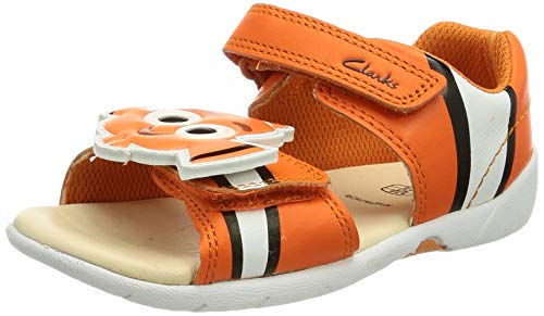 Clarks Zora Nemo T, Sandalia Unisex Niños, Orange Leather, 27 EU Wide