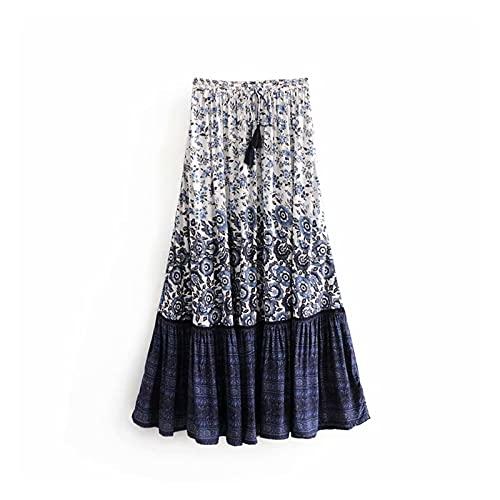 chushi Vestidos de Mujer Moda Hippie Mujeres Floral Impresión Tassel Playa Bohemia Falda Altas Cintura Elástica Boho Rayon Maxi Falda Femme Vestido de Novia Zzib (Color : Blue, Size : S)