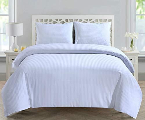 Divine Textiles 300 Thread Count 100% Cotton Sateen Stripe Duvet Quilt Cover Set With Pillow Cases, Double - White
