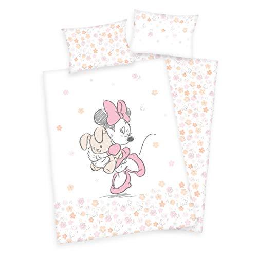 2 tlg. Baby Bettwäsche Wende Motiv: Minnie Mouse mit Hase - flanell 100x135 cm + 40x60 cm (ohne Laken)
