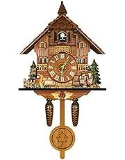 Reloj de Cuco alemán de la Selva Negra, Estilo nórdico Retro, Reloj de Pared de Cuco Colgante de Madera para Oficina en casa, 27 cm