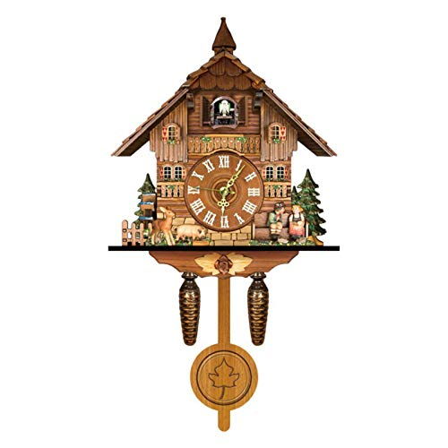 Reloj de pared de cuco de la Selva Negra Alemana, estilo nórdico, de madera