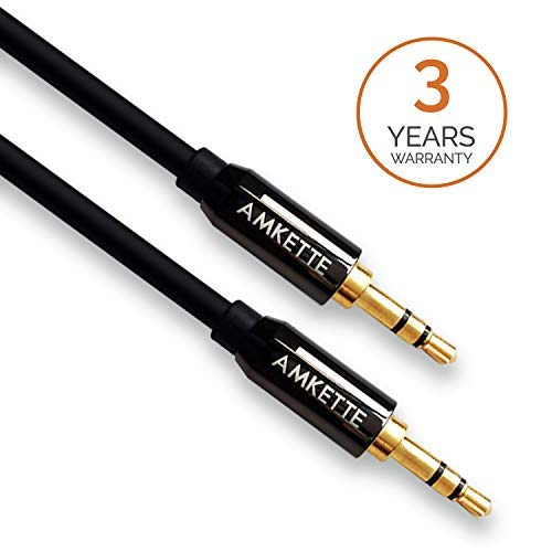 Amkette AUX (Auxiliary) Audio Cable with 3.5mm Male to Male Gold Plated Connectors for Car/Speakers - (1.2m) – Black