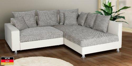VCM Ecksofa Sofa Couch Aja, 225 x 103 x 185 x 80 cm, Schaumstoff / Microfaser, Kunstleder