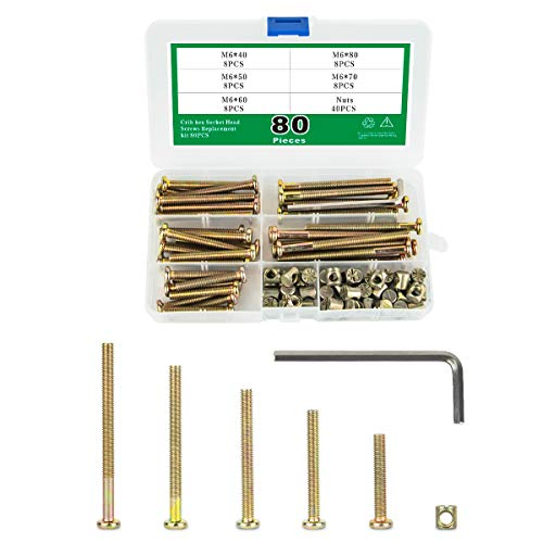 HouZilzt Crib hex Socket Head Screws Replacement kit 80PCS M6X40mm/50mm/60mm/70mm/80mm Bolts Nuts Assortment Kit for Baby Bed bunks Chair Table Cabinets Furniture