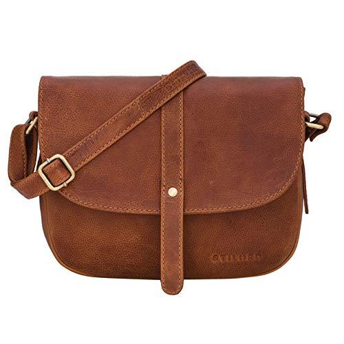 STILORD 'Kira' Umhängetasche Frauen Leder Vintage kleine Handtasche zum Ausgehen Klassische Abendtasche Partytasche Freizeittasche Echtleder, Farbe:Arona - braun