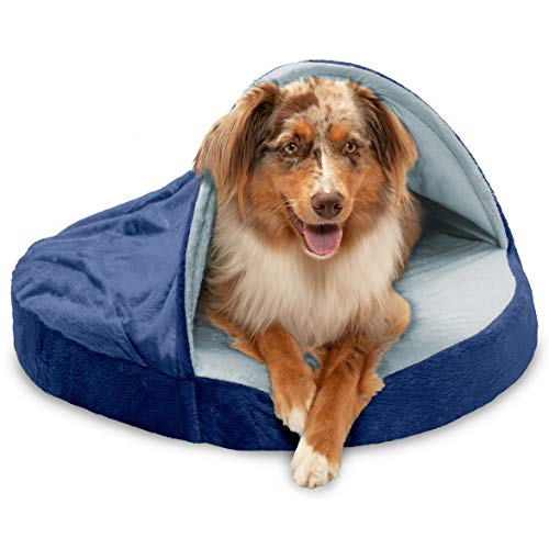 Furhaven Pet Dog Bed - Orthopedic Round Cuddle Nest Micro Velvet Snuggery Blanket Burrow Pet Bed with Removable Cover for Dogs and Cats, Navy, 26-Inch