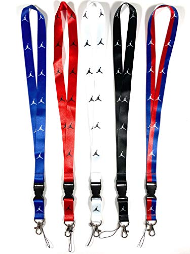 Lanyard 5 Pack Beautiful Design Keychains Keys ID Holder Cell Phones Bags Accessories Office Card Holder Safety Polyester Neck Strap (Jorden)
