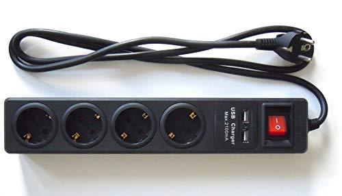 Regleta de 4 Tomas + 2 Puertos USB. Negro. Cable 1.5 Metros 3x1,5mm H05VV-F