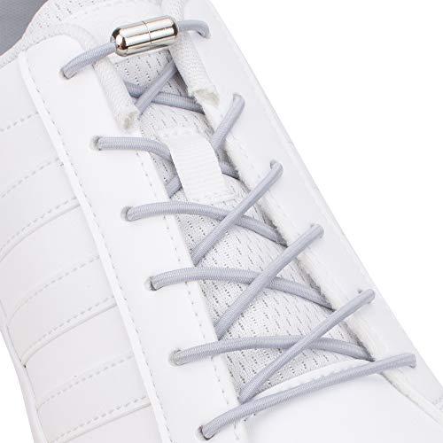 SULPO Elastische Schnürsenkel mit Metallverschluss – Ohne Binden – Silikonschnürsenkel S009 (Grau)