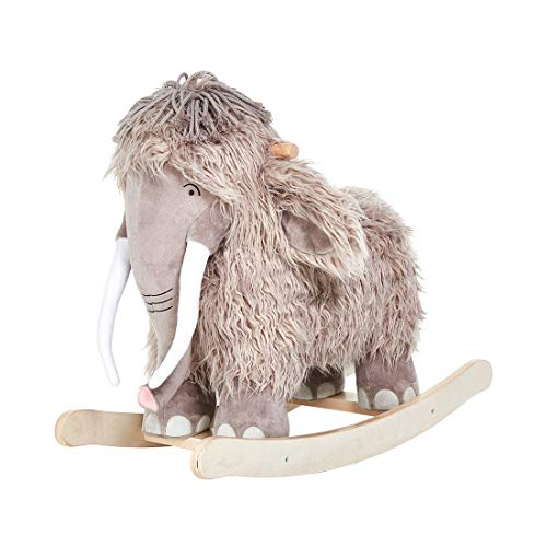 labebe Baby Rocking Horse, Wooden Plush Rocker Toy, Mammoth Baby Riding Horse, Toddler Outdoor&Indoor Toy Rocker, Plush Animal Rocker Chair