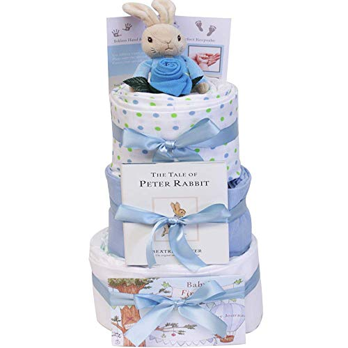 Peter Rabbit New Baby Boy Gifts for a New Born Baby Boy Gift Set Beatrix Potter - Blue 3 Tier Nappy Cake Baby Boy Gift Hamper Peter Rabbit Present for Baby Shower & New Parent Gifts