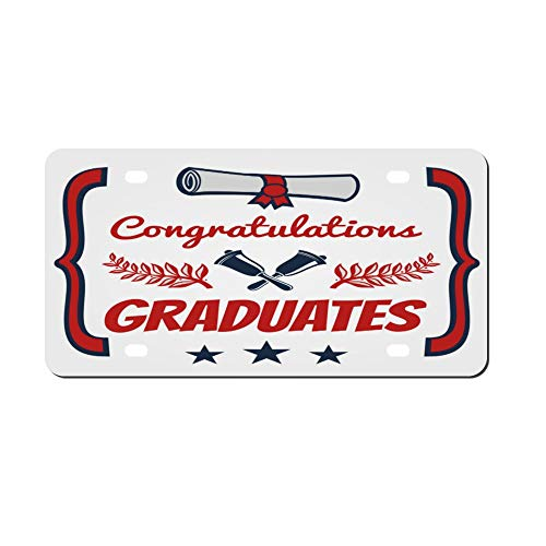 Graduate Banner Design Congratulation Front Vanity Plate,Aluminum Car Tag Holder,Licesen Plate Frame,Auto Accessory Gifts