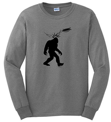 Disc Golf Frisbee Sasquatch Long Sleeve T-Shirt Large Sport Grey