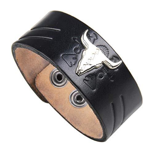 Bracelet Cuir Lederarmband – Armband aus Leder mit Stierkopf – Größe verstellbar und angenehm zu tragen. - Schwarz