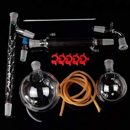 YONH Wa Equipo de destilación de Vidrio Kit de destilación al vacío Kit de cristalería de Laboratorio de Columna 1000 ml 24/40 Materiales de Vidrio de Laboratorio