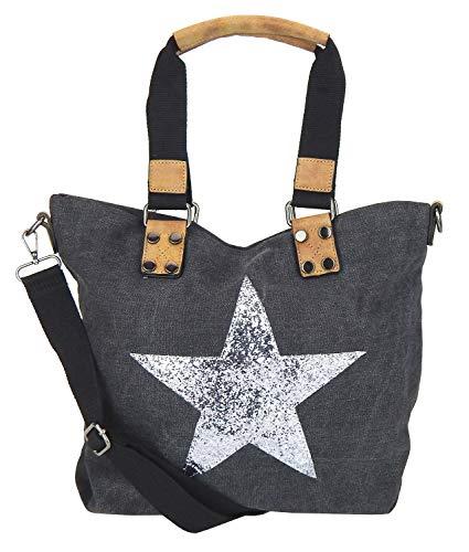 Tasche Stern grau dunkelgrau Glitzerstern Silber Canvas Kunstleder Handtasche
