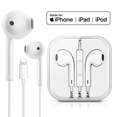 POUINGGT for Earbuds Headphone Wired Earphones Headset with Microphone and Volume Control, Compatible with iPhone Xs/XR/XS Max/iPhone 7/7 Plus iPhone 8/8Plus /iPhone X Earphones (White)