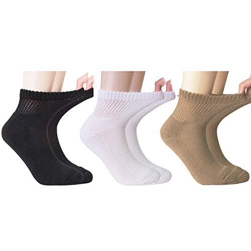 +MD Diabetic Socks Mens and Womens Half Cushion Circulatory Quarter Socks for All Seasons Loose Fit 6 Pack