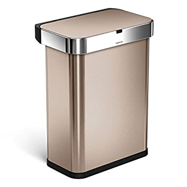 simplehuman 58 Liter / 15.3 Gallon 58L Stainless Steel Touch-Free Rectangular Kitchen Sensor Trash Can with Voice and Motion Sensor, Voice Activated, Rose Gold Stainless Steel