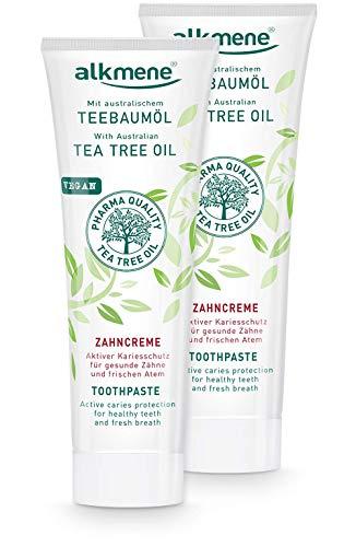 alkmene Teebaumöl Zahnpasta für empfindliche Zähne - vegane Zahncreme ohne Silikone, Parabene & Mineralöl - Natürliche Toothpaste mit Fluorid & australischem Teebaumöl im 2er Pack (2x 100 ml)