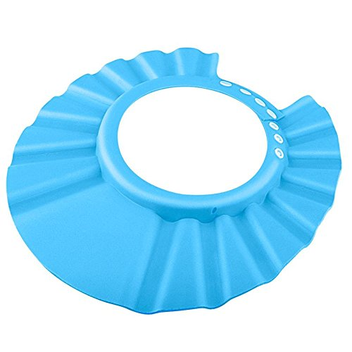 Adjustable Baby Kids Shampoo Bath Bathing Shower Cap Hat Wash Hair Shield (Blue)