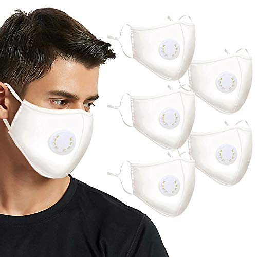 5 Pcs White Cotton Washable Reusable Face Mask with Breath Valves, Unisex-adult Protection from Dust Pollen Pet Dander(White)