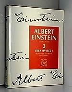 Oeuvres choisies, tome 2 - Relativités I d'Albert Einstein