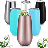 6 Pieces Stemless Champagne Flutes Double-insulated Champagne Tumbler with Lips, 6 OZ Stainless Steel Unbreakable Cocktail Cups for Coffee Wine Glass Tumbler (Multicolor)