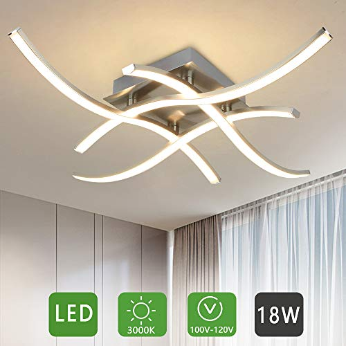 DLLT LED Modern Ceiling Light-Contemporary 4-Light Flush Mount Ceiling Lamp for Kitchen Close to Ceiling Light Fixture, 18W 3000K 1650LM for Office/Living Room/Bedroom/Hallway/Dining Room, Warm Light