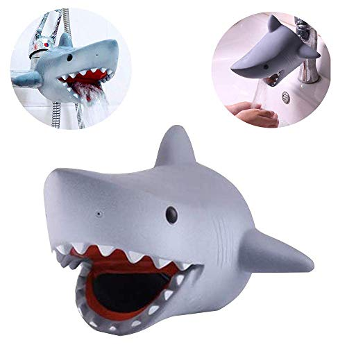Children's Faucet Extender Bath Spout Cover for Baby: Sink Extension Hand Washing - Kids Toddler Bathroom Bathtub Fun & Safety - Child Kitchen Accessories (Grey Shark)
