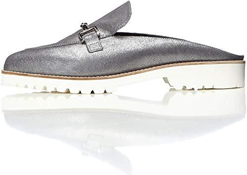 find. Mules Damen mit Loafer-Design und breiter Sohle, Silber (Blue), 36 EU