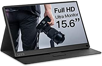 Lasitu Ultrathin&Ultralight Portable Monitor 15.6 Inch Full HD 1080P USB C Monitor with Type-C/HDMI Portable Screen for Laptop Mac PC Phone Xbox PS4 Switch, Smart Case & Screen Protector Included