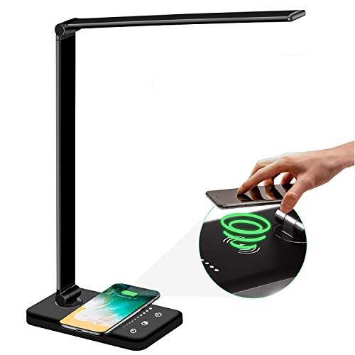Schreibtischlampe LED mit Drahtloses Ladegerät und USB Ladeanschluss,Dimmbare Faltbare Schreibtischlampe mit Augenschutz, 5 Beleuchtungsmodi&Helligkeit Tischleuchte, Empfindliche Touchscreen Steuerung