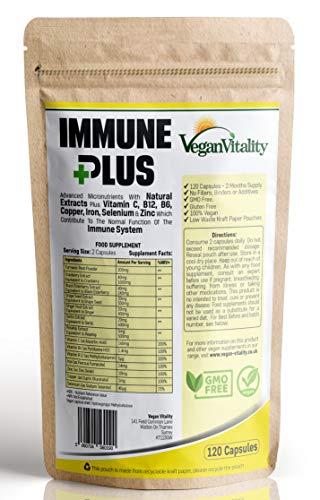 Immune Plus - Vitaminas Defensas - Mejora el Sistema Inmunitario con 14 Vitaminas y Extractos Naturales, Vitamina C, Zinc, Cúrcuma, Selenio, Jengibre, Arándano, Saúco, Ajo, Vitamina B12 y Vitamina B6